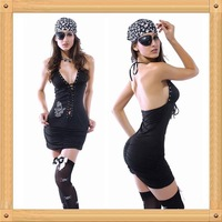 Free Shipping Adult Women Classic Halloween Costumes Sleeveless V-neck One-eye Caribbean Pirates Costumes Jumpsuits Set