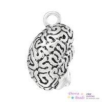 """Charm Pendants Anatomical Human Cerebrum Brain Antique Silver 3.6cm x 2.3cm(1 3/8"""" x 7/8""""),3PCs (B34439)"""