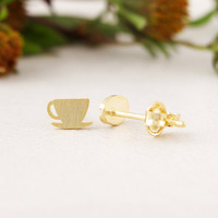Earring accessories yellow tea cup female asymmetrical discount stud earrings Factory Wholesale