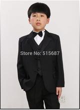 elegante mode exquisite jungen schwarze Kleidung junge hochzeitsanzug/Junge party abendkleid: jacket+vest+trousers+bow tie+girdle(China (Mainland))