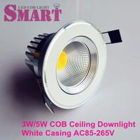 1pcs free Shipping 3W/5W LED COB Recessed Spot Downlight D70MM hole size AC 85-265V 60 degree Black/White/Gold Housing