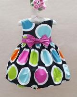 RQ0126 Free shipping New 2013!high quality children dresses fashion girls Bow princess dress Summer baby sleeveless dress retail