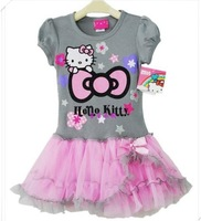 RQ0125 Retail Newest Design Branded kids clothing Baby Girl Hello Kitty cute dress girl tutu dresses High Quality free shipping