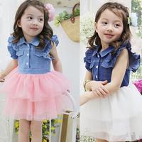 Toddler Kids Girls Ruffled Lace Dress Denim Gauze Tutu Dress 2-7Y   Free &Drop shipping