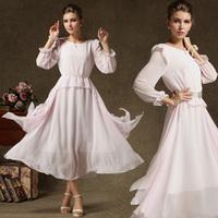 Autumn Maxi Dresses Ladies' Dress Elegant Long-sleeve Expansion Bottom Cascading Ruffle Send Pearl Belt Pink Colour 8129 #