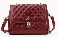 New 2014 korean style fashion women bags classic cowhide plaid shoulder genuine leather handbags