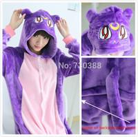 Novelty Anime Sailor Moon Diana Purple Luna Cat Cosplay Onesie Adult Women Men Cosplay Winter Pajamas Halloween Party Costumes