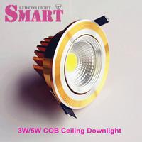 1pcs Gold Fixture 3W/5W LED COB Ceiling Spot Bulb 220V/240V/110V Warm white/Cool white 60 degree Angle Post Free