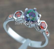 Hot Sell ! Beautiful Wholesale Women Jewelry Mystic Topaz Orange Garnet 925 Silver Stamp Ring Size 7 / 8 NJ5975