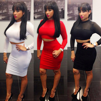 New Lady's Sexy Two Piece Bandage Dress Sexy Long-sleeve Hollow Out Cropped Outfit Bodycon Dress Lady's Elegant Party Sexy Dress