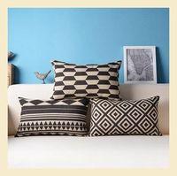 Black and white geometric  Cotton Linen Pillow Case Ikea Nap Pillow Creative Lumbar Pad Fashion  Cushion Covers C6244 A.A