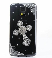 IMPRUE Handmake Case with cross Pattern Diamond Bling Case Cover For Samsung S5 With PP Packing Free Shpping
