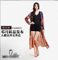 Fashion silk sunscreen long-sleeve shirt female long design thin outerwear