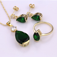 S3-0009,30mm wedding jewelry sets for brides Multi 5 colors design Necklace/ring/earring Gold Plated