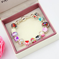 Colorful 925 silver plated snake chain women murano glass beads bracelet