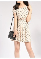 Korean Style Dress 2014 Summer Fashion Animal Bird Print Dress  Vintage Chiffon Plus Size  Beach Dress C015