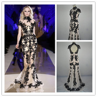 2014 High Quality Elegant Luxury Fashionable Zuhair Murad Black Lace Mermaid Long Prom Dress Party Gown Formal Evening Dresses