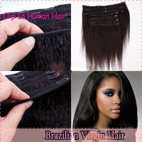 100% 6A unprocessed virgin brazilian hair kinky straight coarse yaki clip in human hair extensions 7pcs queen weave beauty