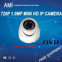 Free Shipment ONVIF 1280*720P 720pHD 1.0MP Mini IR Dome IP Camera P2P Plug Play  HD IP plastic dome camera IPC3F2EP-I2