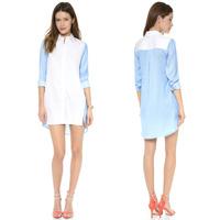 2014 new fashion sexy playful boyfriend wind models invisible buttons blue stitching white chiffon dress haoduoyi