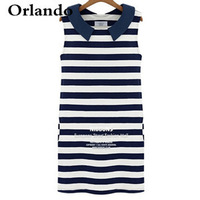 New gift 2014 new European style ladies navy blue striped collar sleeveless dress