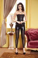 Ladies Black Faux Leather Overbust Corset & Buster Top Adult Women Punk PU And Suede Effect Buckle Front Burlesque Corsage