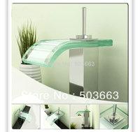 Chrome Single Handle Deck Mounted Bathroom Waterfall Glass Basin Faucet Sink Mixer Tap Vanity Faucet L-3800 Mixer Tap Faucet