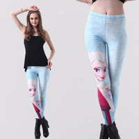 Spring and summer new cartoon printed stretch Slim outer wear long pants big yards female feet pants tide
