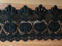 Factory 5yards/lot floral black cotton embroider lace trim,swiss lace fabric DIY Gown Dress,garment,ribbon,sewing,vest,