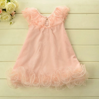 Odell Cotton 2014 Summer dresses  for girl princess TUTU Lace pink  dress 5pcs/lot Wholesale wx1902