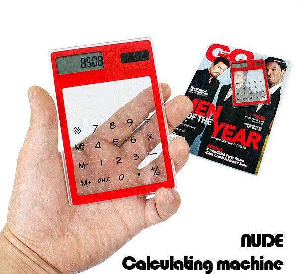 Solar power transparent calculator general purpose calculating machine best gift best traveling tool(China (Mainland))