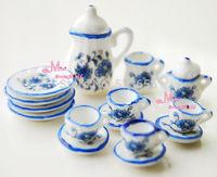 Lot of 15PCS Porcelain 1:12 Dollhouse Miniature Toy Coffee Tea Cup Set