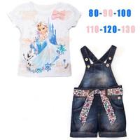 2014 new arrive children girls frozen design summer 2pcs set children clothing set children girls clothes children wear 6set/lot