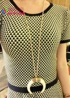 2014 latest fashion punk retro gold silver alloy white black ivory long chain costume pendant & necklace for women bijoux