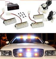 WHITE / AMBER / WHITE+YELLOW CAR VEHICLE BUMPER GRILLE FLASHING WARNING LIGHT LANTERN STROBE EMERGENCY LAMP BLINKER BEACON LIGHT