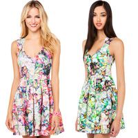Summer 2014 new fashion sexy European and American style printing ink Chaos V-neck folds back long zipper dress haoduoyi