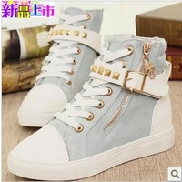 Free shipping Hot-selling 2014 spring rivet high canvas shoes female velcro casual shoes flat shoes single elevator