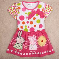 Free Shipping 2014 New Design Peppa Pig Girl's Dresss Short Sleeve Peppa Pig Girl Clothing Dress 100% Cotton  Girls Summer Dress