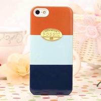 Gold Logo Brand Phone Cases Fossil Stripe Pattern Hard Plastic Cover Case For iPhone 5S 5G 5 iphone5 + Retail Packaging