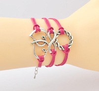 The ancient silver double heart of eight hemp wreath Mei red wax rope hand knitting bracelet hand rope