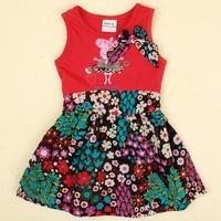 FREE SHIPPING H4566# new fashion nova beautiful baby girls flower peppa pig hot summer party dress for baby girls