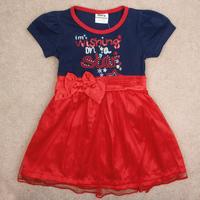 Free Shipping 2014 New Design Girl's Dresss Fashion Short Sleeve Girl's Dress 100% Cotton  Girls Summer Dress