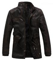 2014 New Men'S High Quality Plus Velvet Fashion Big Yards Leather Jacket Casual With Belt Long Type Leather Jacket XG50-80