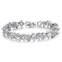 2014 New Fashion Cubic Zirconia CZ crystal Tennis Flower Bracelets For Women Trend Jewelry Beauty Gift RKKDS