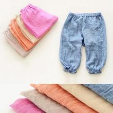 2014 new fashion design original brand kids boy linen cotton casual pants,children girls Cropped pants,natural materials(China (Mainland))