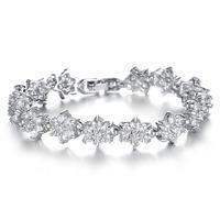 2014 New Fashion Cubic Zirconia CZ crystal Tennis Flower Bracelets For Women Trend Jewelry Beauty Gift