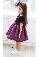 2014 new fashion summer baby clothing kids purple veil dress flowers design princess dress party dress girl