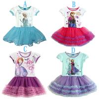 New 2014 fashion baby girl dress, lace frozen dress princess, baby & kids charming summer dresses 5pcs/lot