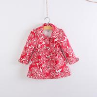 Children's clothing female child flower tiebelt trench child medium-long overcoat spring and autumn outerwear