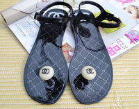 New 2015 Women flat jelly sandals black and beige colors 6 size summer shoes